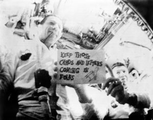 The Apollo 7 crew encouraged letters, too. Photo By NASA - http://spaceflight.nasa.gov/gallery/images/apollo/apollo7/html/s68-50713.html ([1]) (JSC reference)Original uploader: Transferred from en.wikipedia to Commons by Jatkins.(Original text: NASA), Public Domain, https://commons.wikimedia.org/w/index.php?curid=12114614