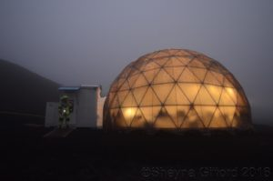 dome in the fog with astronaut small